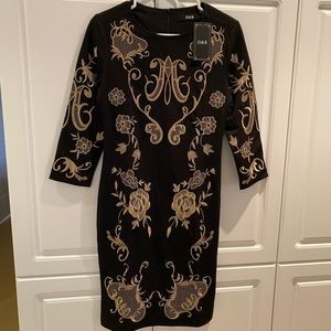 Black Embroidered Slim Dress Size Small NWT